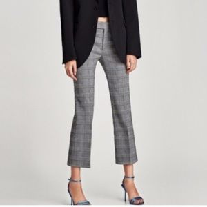 Zara Grey Plaid Flare Pants